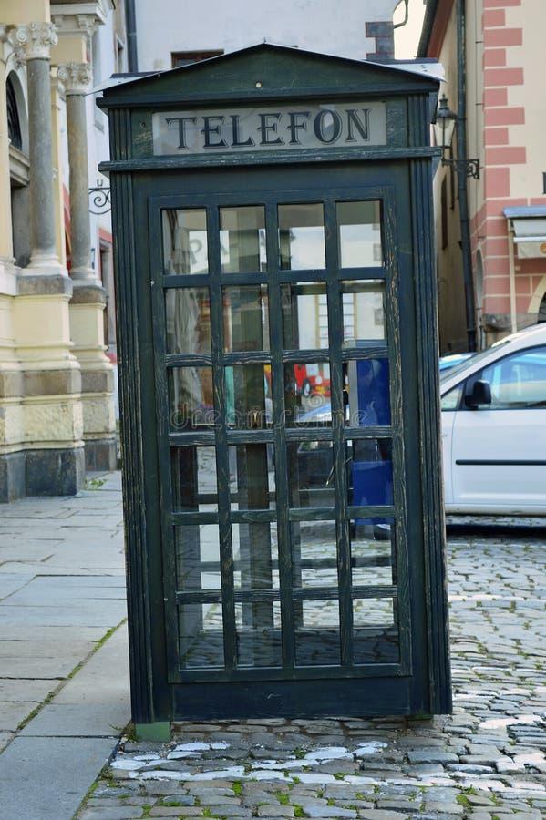 Czech old fashioned telephone box cesky krumlov stock image