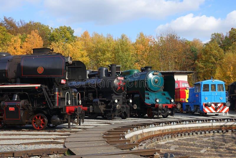 Historical Steam Engines in Depot in Czech Railways Museum Luzna u Rakovnika, Czech Republic, Europe. Czech Outdoor Railways Museum Luzna u Rakovnika, Czech stock images