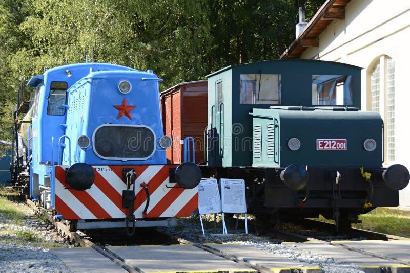 Two Historical Steam Engines in Czech Railways Museum Luzna u Rakovnika, Czech Republic, Europe. Czech Outdoor Railways Museum Luzna u Rakovnika, Czech Republic stock image