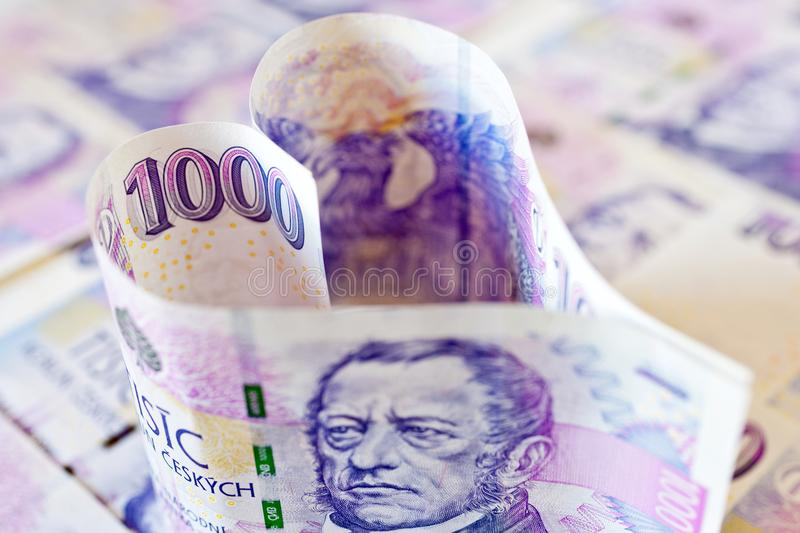 Czech paper money in a shape of the heart - economy and finance royalty free stock image