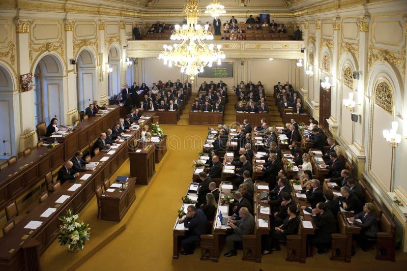 Czech parliament. Chamber of Deputies of Parliament of Czech republic during constituent meeting in Prague, Czech republic, November 25, 2013 stock photography