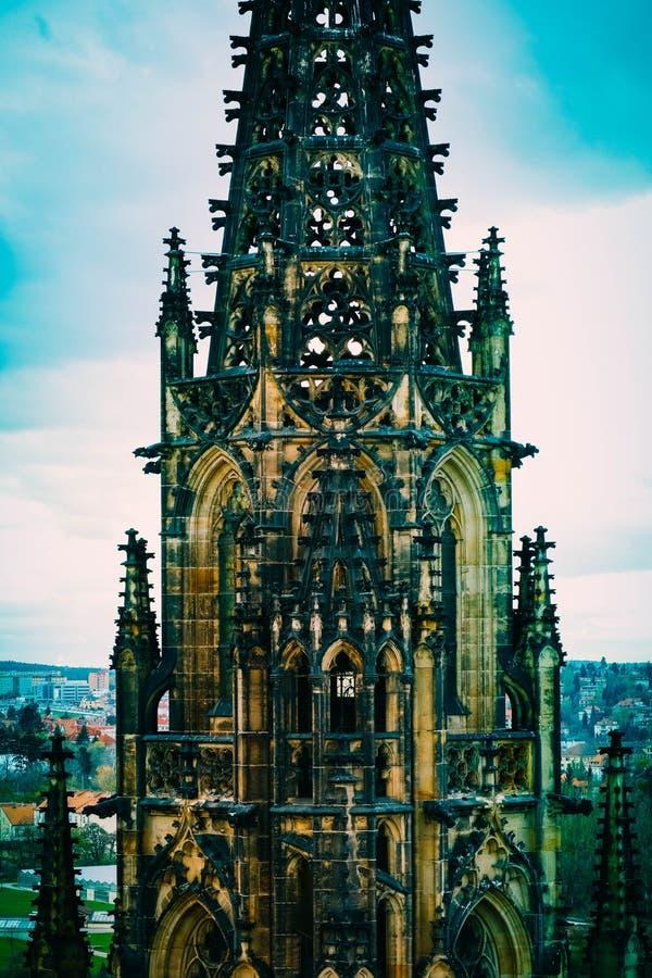 Czech, Praga kasztel, St Vitus budynku Katedralny gothic archit obraz stock