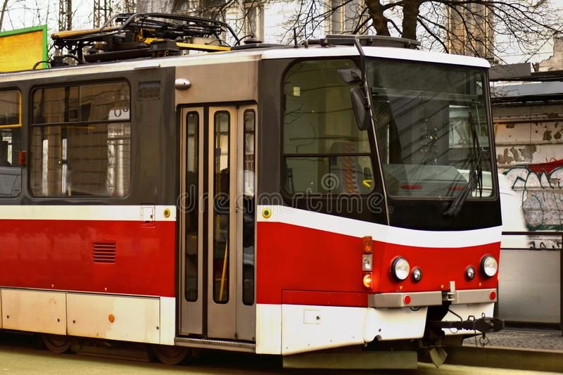 Czech red tram in the city stock image