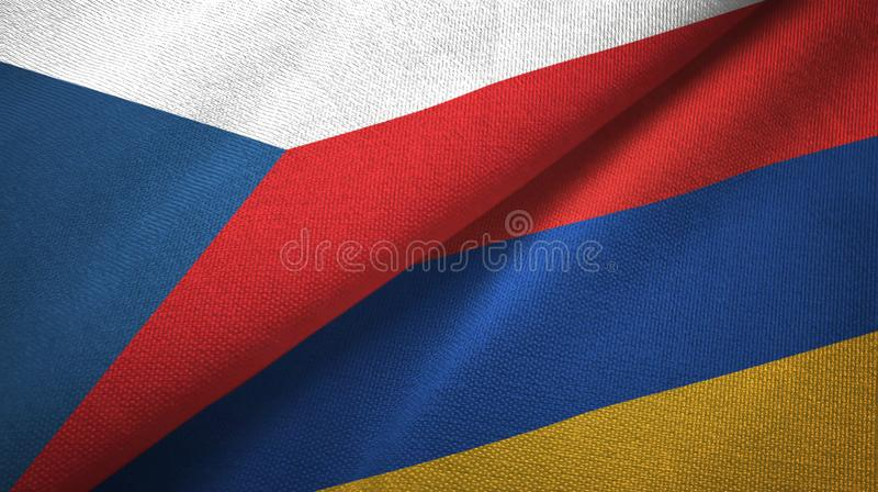Czech Republic and Armenia two flags textile cloth, fabric texture royalty free illustration