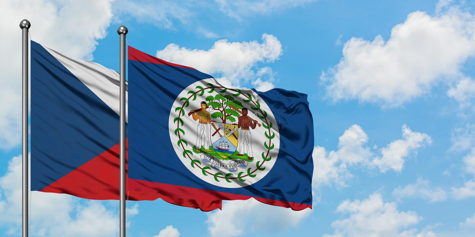 Czech Republic and Belize flag waving in the wind against white cloudy blue sky together. Diplomacy concept, international. Relations, consul, diplomat stock image