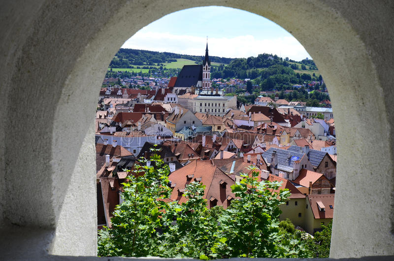 Czech Republic, Bohemia. Cesky Krumlov, Czech Republic, cityview from castle with church Saint Vitus in the Unesco World Heritage site in Bohemia stock photos