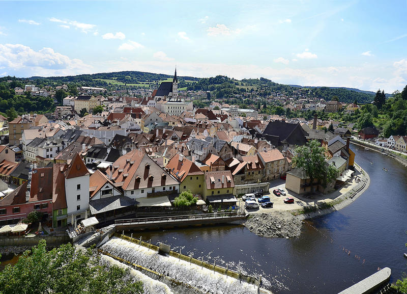 Czech Republic, Bohemia. Cesky Krumlov, Czechia, city view with Moldau Vlatava river and church Saint Vitus in the Unesco World Heritage site in Bohemia royalty free stock photos