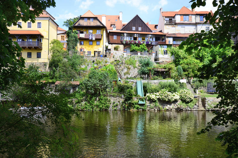 Czech Republic, Bohemia. Cesky Krumlov, Czech Republic, homes on bank of river Moldau in the Unesco World Heritage site in Bohemia royalty free stock photos