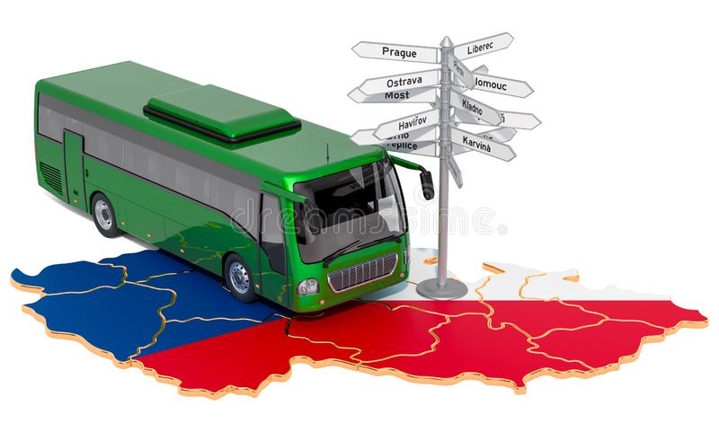 Czech Republic Bus Tours concept. 3D rendering. Isolated on white background royalty free illustration