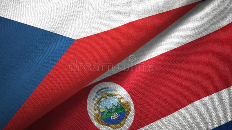 Czech Republic and Costa Rica two flags textile cloth, fabric texture royalty free illustration