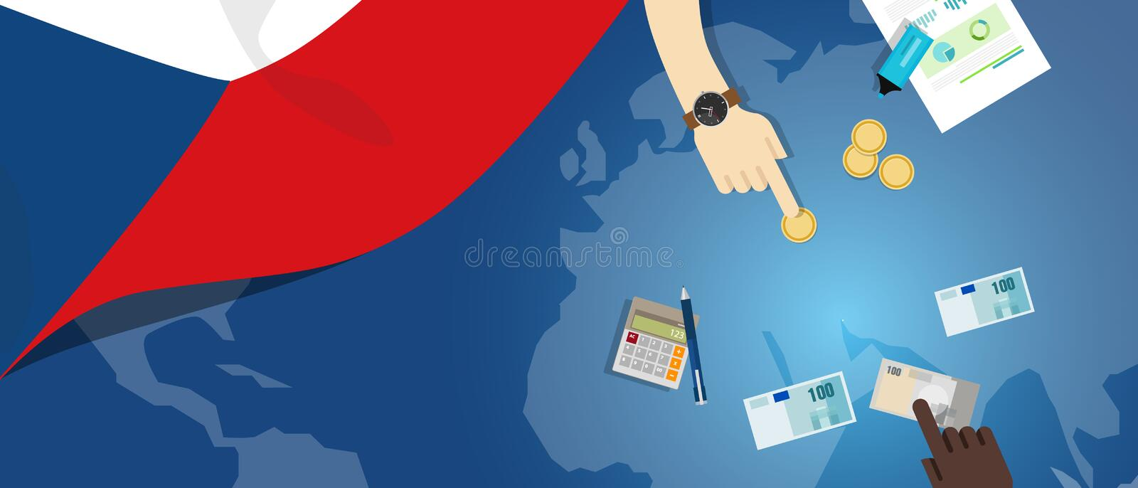 Czech republic economy fiscal money trade concept illustration of financial banking budget with flag map and currency. Vector stock illustration