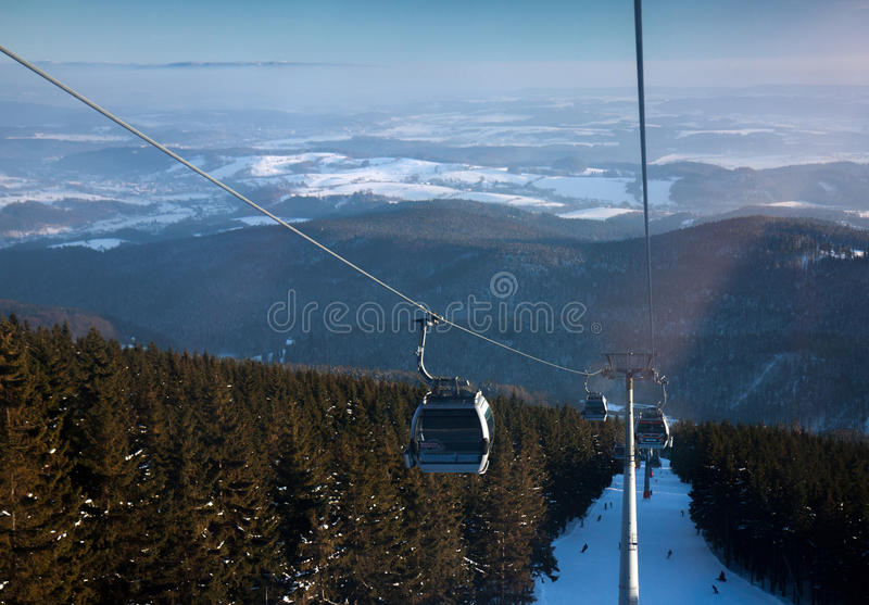 Czech Republic - Janske lazne - Cerna hora. Cableway, ski slope stock photography