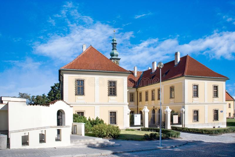 Baroque castle with park, historical town center of town Kladno, Central Bohemia, Czech republic. CZECH REPUBLIC, KLADNO - SETP 18, 2015: baroque castle with stock photo