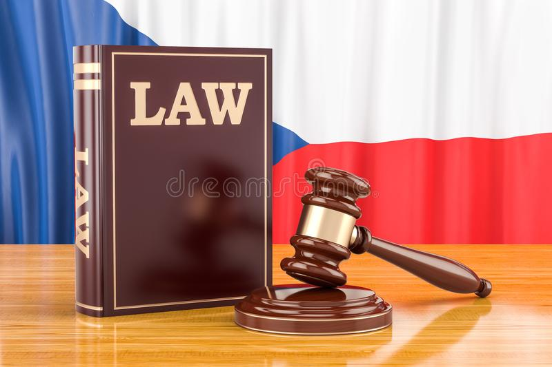 Czech Republic law and justice concept, 3D rendering vector illustration