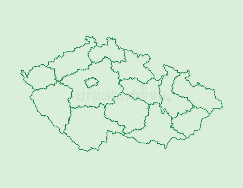 Czech Republic map vector with regions using green borders on light background vector illustration