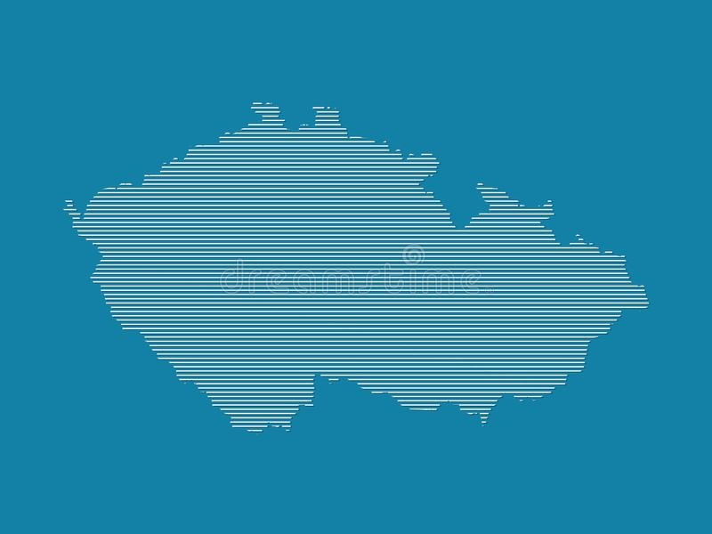 Czech Republic map vector with simple straight lines on blue background stock illustration