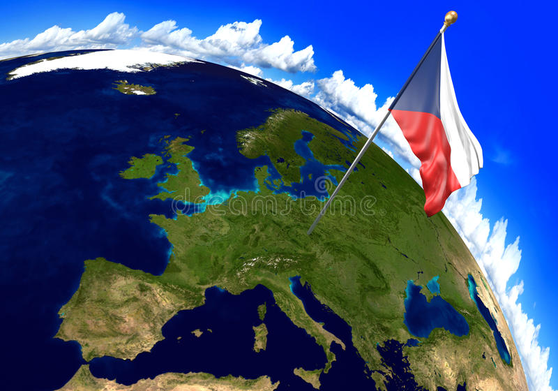 Czech Republic national flag marking the country location on world map. 3D rendering royalty free illustration