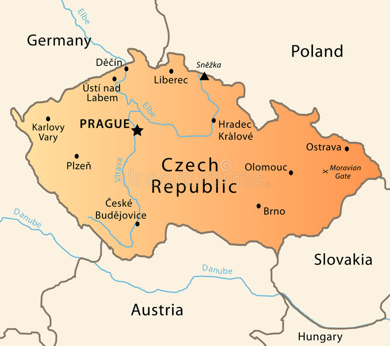 Czech Republic Political Map Stock Vector Illustration - Czech republic map