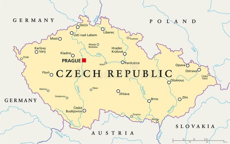 Czech Republic Political Map Stock Vector Illustration of slovakia