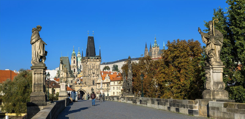 Prague - Charles Bridge and St. Nicolas Church stock photography