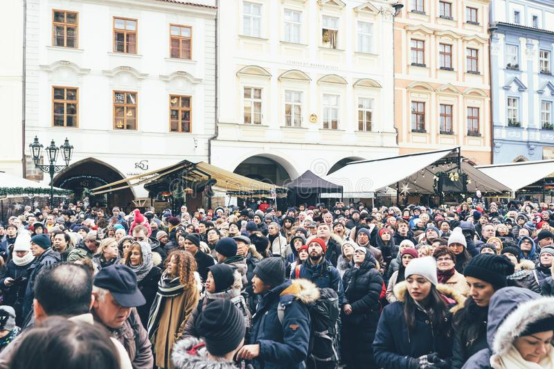 The Czech Republic, Prague - December 26, 2018: Crowd on the main square in Prague stock photo