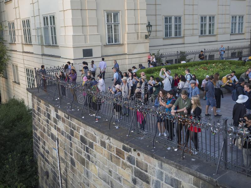 Czech Republic, Prague , September 8, 2018: The crowd of tourist people takeing picture of Prague castle panorama on royalty free stock image