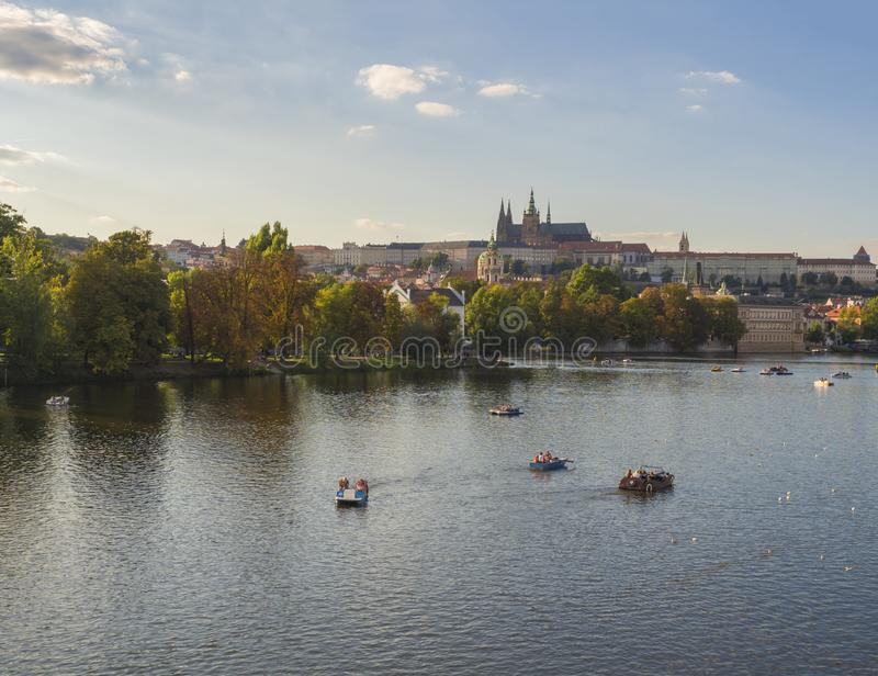 Czech Republic, Prague, September 8, 2018: panorama of Gradchany, Prague Castle and St. Vitus Cathedral, Strelecky ostrov island,. Czech Republic, Prague royalty free stock photo