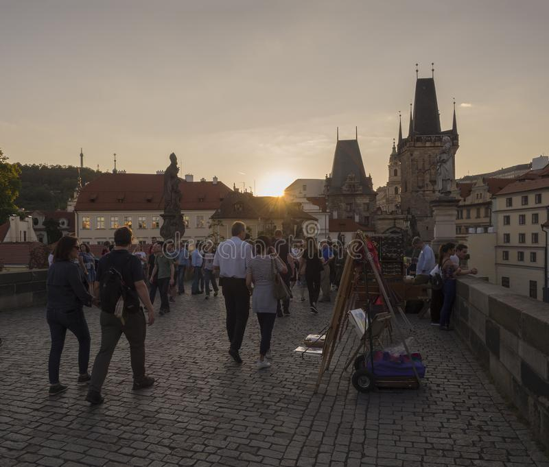 Czech Republic, Prague , September 8, 2018: View from Charles Bridge on Mala Strana Bridge Tower with walking tourist people and s royalty free stock photography