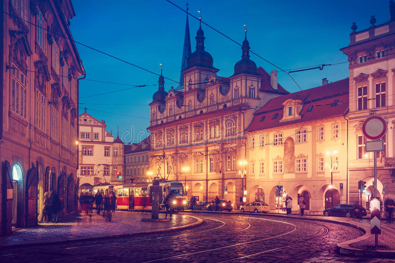 Czech Republic Prague square with old tram public transport stock images