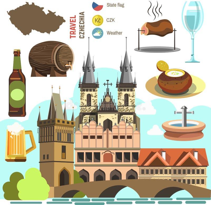 Czech Republic Prague Symbol Set Stock Vector Illustration Of
