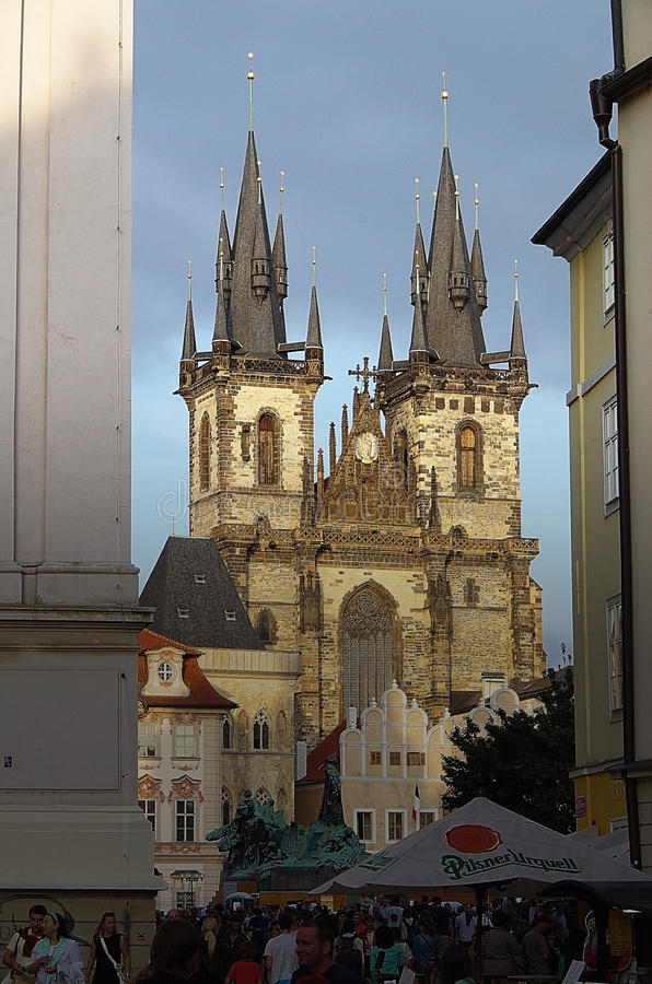 Czech Republic. Prague. Prague. Tyn Church captivates with its views. Gothic style of architecture breathes the era of the Middle Ages and takes us to the stock photos