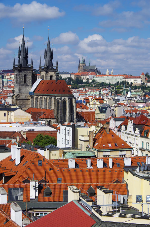 Czech Republic. Prague. Prague. Tyn Church captivates with its views. Gothic style of architecture breathes the era of the Middle Ages and takes us to the stock images