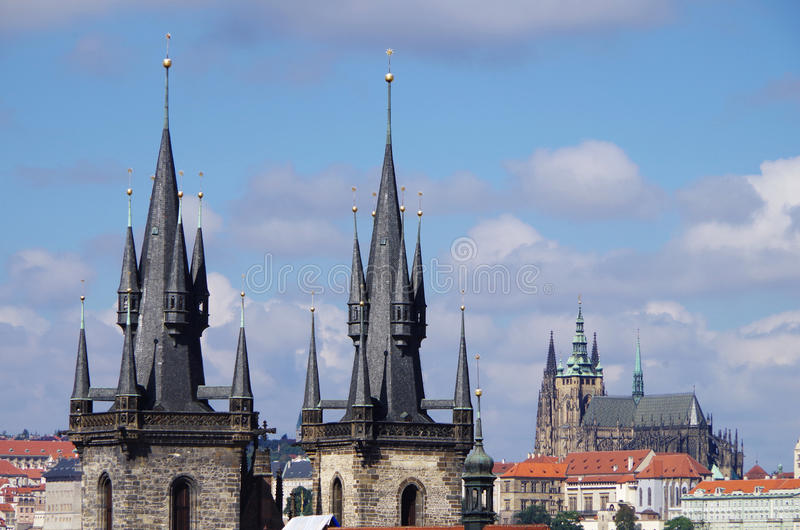 Czech Republic. Prague. Prague. Tyn Church captivates with its views. Gothic style of architecture breathes the era of the Middle Ages and takes us to the royalty free stock images