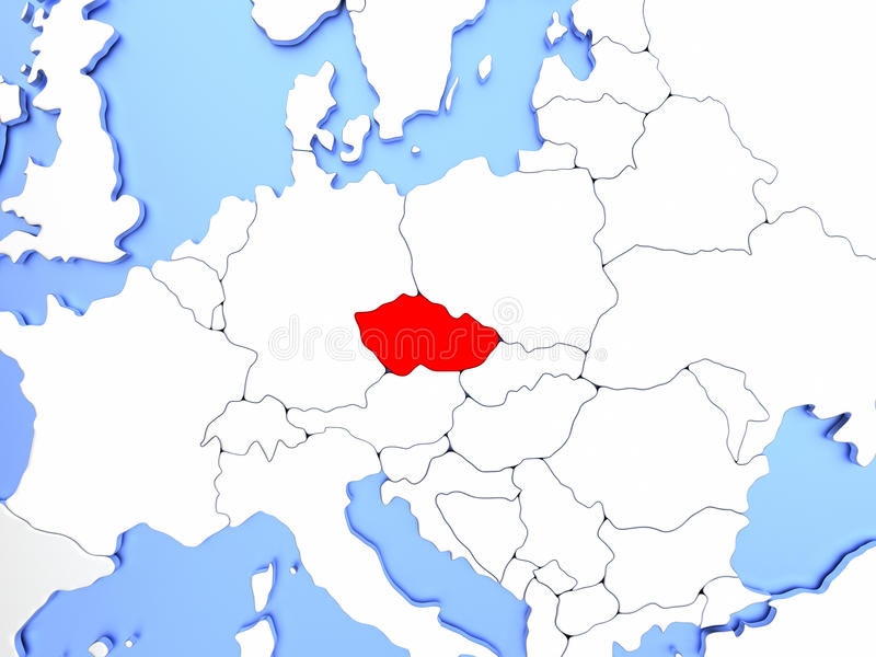 Download Czech Republic In Red On Map Stock Illustration   Illustration Of  Europe, Countries: