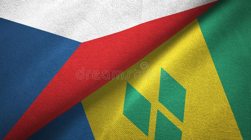 Czech Republic and Saint Vincent and the Grenadines two flags textile cloth royalty free illustration