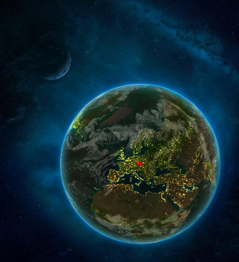 Czech republic from space on Earth at night surrounded by space with Moon and Milky Way. Detailed planet with city lights and. Clouds. 3D illustration. Elements stock illustration