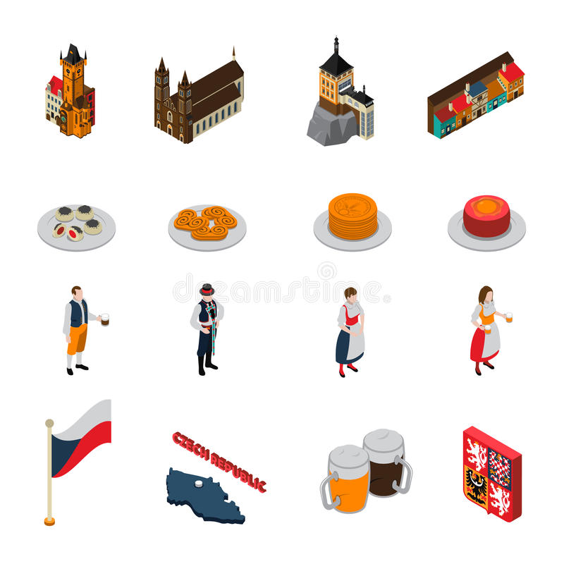 Czech Republic Symbols Isometric Icons Collection stock illustration