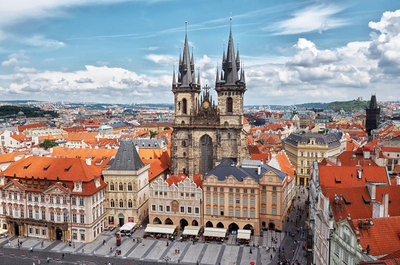 Czech Republic. Towers Týnský chrám in Old Town Square in Prague. June 13th 2016 stock photo