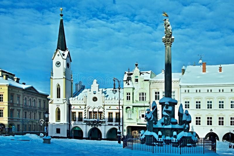 Czech Republic-view on the square in city Trutnov in winter. View on the square in winter in city Trutnov in Czech Republic stock image