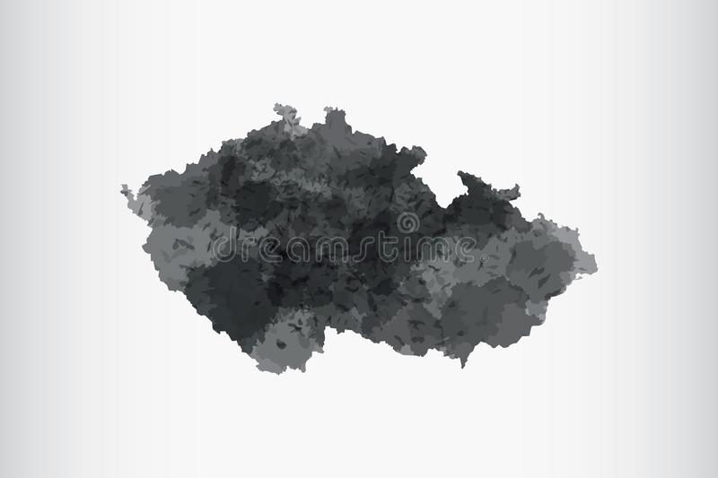 Czech Republic watercolor map vector illustration of black color on light background using paint brush in paper page stock illustration