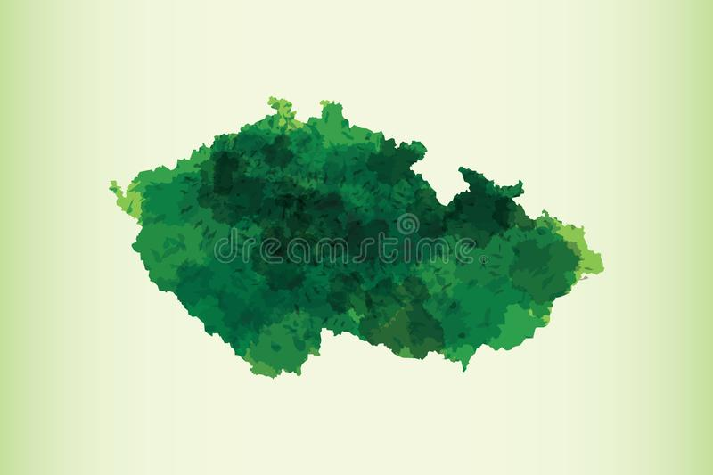 Czech Republic watercolor map vector illustration of green color on light background using paint brush in paper page vector illustration