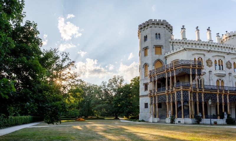 Czech Republic - white castle Hluboka nad Vltavou. Beautiful white renaissance castle castle Hluboka nad Vltavou in the Czech Republic stock photo