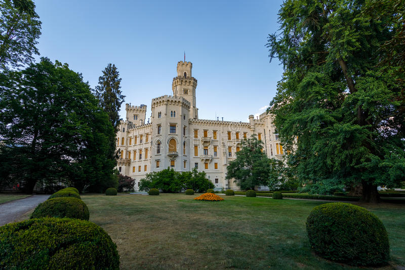 Czech Republic - white castle Hluboka nad Vltavou. Beautiful white renaissance castle castle Hluboka nad Vltavou in the Czech Republic stock photos