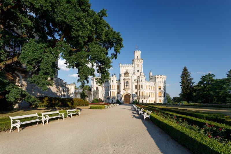Czech Republic - white castle Hluboka nad Vltavou. Beautiful white renaissance castle castle Hluboka nad Vltavou in the Czech Republic royalty free stock image