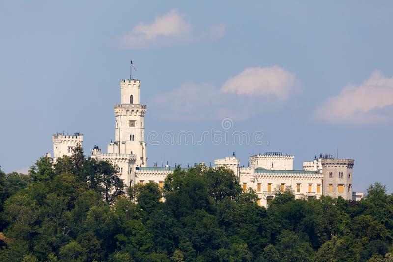 Czech Republic - white castle Hluboka nad Vltavou. Beautiful white renaissance castle castle Hluboka nad Vltavou in the Czech Republic royalty free stock images