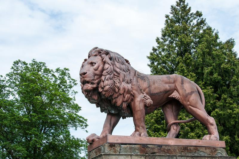 Metal lion statue at Zbiroh Castle, Czech Republic royalty free stock photography