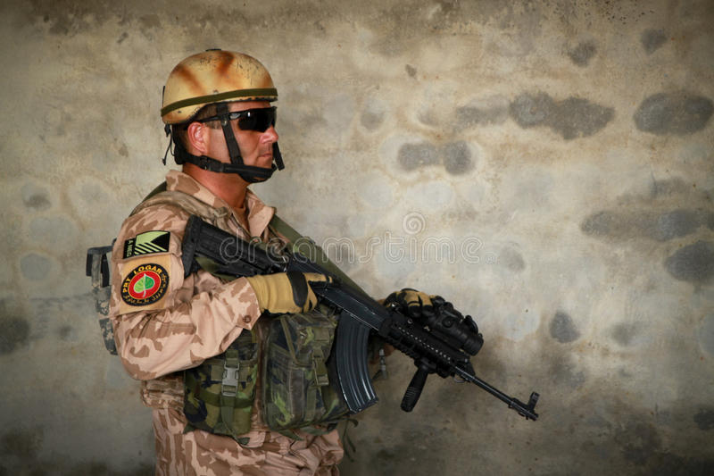 Czech soldier in Afghanistan indoors stock photos