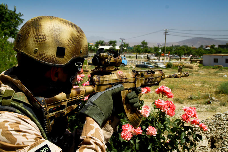 Czech soldier on guard in Afghanistan stock image