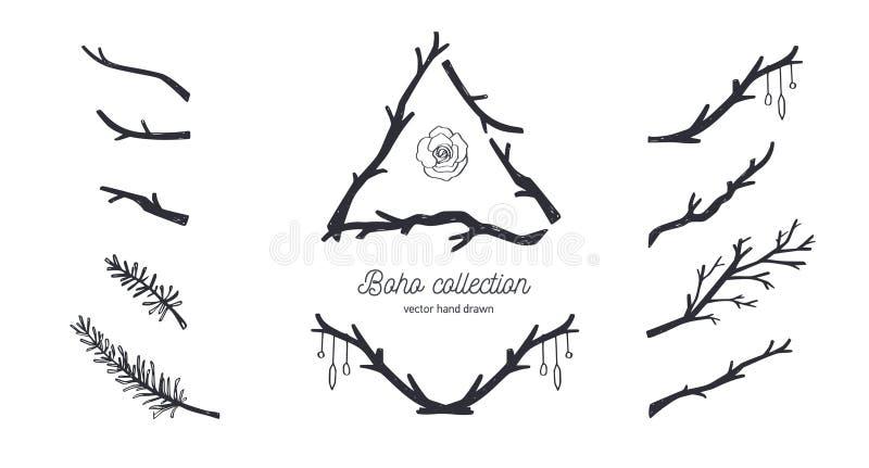 Czech stylowa wektorowa kolekcja dla tatuażu, zaproszenia, ulotki, wystrój z ramami, gałąź drzewo, dzikie rośliny royalty ilustracja