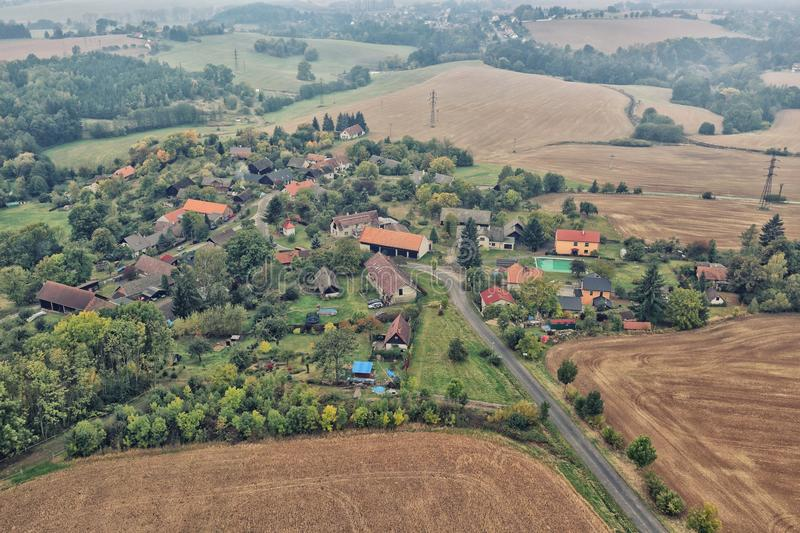 Czech village by the fields from above stock image